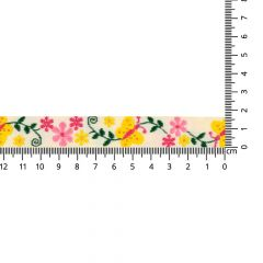 Woven ribbon butterflies-flowers 17mm - 25m