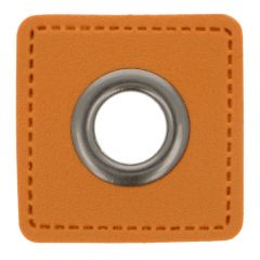 Eyelets on brown faux leather square 11mm - 50pcs