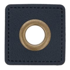 Eyelets on navy faux leather square 8mm - 50pcs