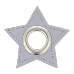 Eyelets on gray faux leather star 11mm - 50pcs