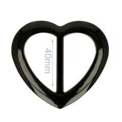 Decorative buckle plastic heart 40mm - 6pcs