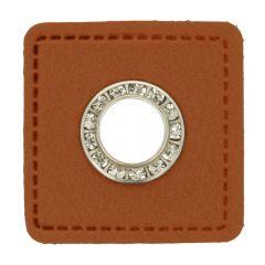 Eyelets diamantes brown faux leather square 8mm - 50pcs