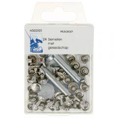 MMJZ Press fasteners with tools 9mm - 5pcs