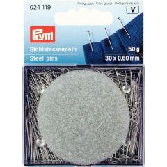 Prym Headpins steel with pillow 0.60x30mm silver - 5pcs