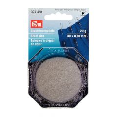 Prym Pins steel with cushion 0.60x30mm silver - 5pcs