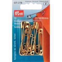 Prym Safety pins assorted 27-38-50mm gold - 5x12pcs