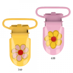 Suspender clips with flower 25mm - 12pcs