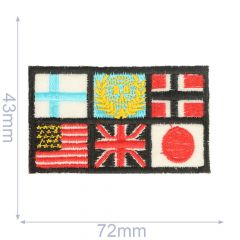 Iron-on patches flags 72x43mm black - 5pcs