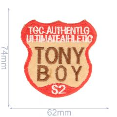 Iron-on patches tony boy 62x74mm red-brown - 5pcs
