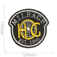 Iron-on patches milleage 124 x119mm black - 5pcs