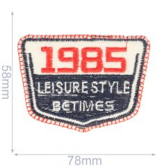 Iron-on patches 1985 78x58mm blue-red - 5pcs