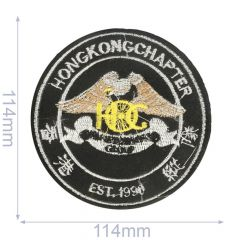 Iron-on patches Hong Kong chapter 114x114mm black - 5pcs