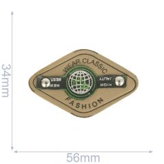Label wear classic fashion 56x34mm beige-green - 5pcs