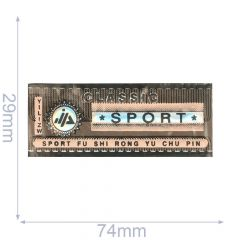 Label classic sport 74x29mm brown-pink - 5pcs