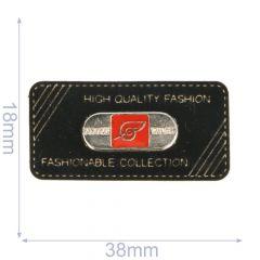Label fashionable collection 38x18mm black - 5pcs