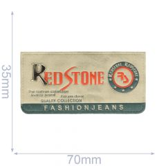 Label red stone 70x35mm grey-blue - 5pcs