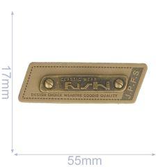 Label classic wear 55x17mm brown - 5pcs