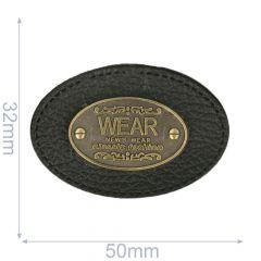 Label oval wear 50x32mm black - 5pcs