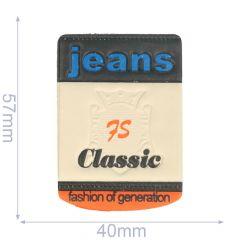 Label jeans 75 classic 40x57mm beige-blue - 5pcs