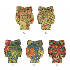Iron-on patches owls with sequins 135x110mm - 2x5pcs