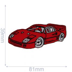 HKM Iron-on patch sportscar 81x39mm red - 5pcs