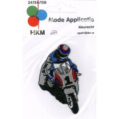 Iron-on patches mororcycle racer frontview - 5pcs