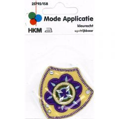 Iron-on patches flower purple-yellow - 5pcs
