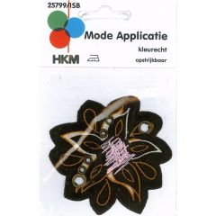 Iron-on patches Flower brown with Orange-pink - 5pcs