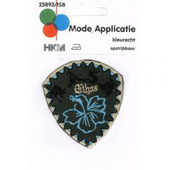 Iron-on patches flower blue in shield - 5pcs