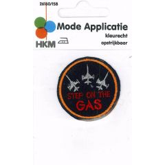 Iron-on patches Step on the gas blue - 5pcs
