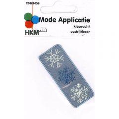 Iron-on patches Snow flakes grey - 5pcs