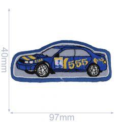 HKM Iron-on patch race car no.555 97x40mm blue - 5pcs