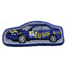 Iron-on patches race car blue nr.555 - 5pcs