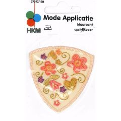 Iron-on patches flowers in shield - 5pcs