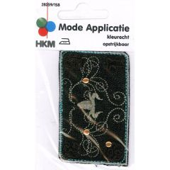 Iron-on patches Shield with studs black - 5pcs