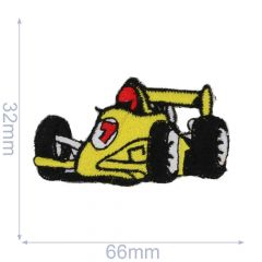 HKM Iron-on patch race car 66x32mm yellow - 5pcs