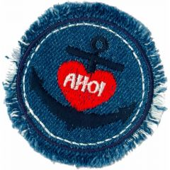 Iron-on patches AHOI in circle jeans blue - 5pcs