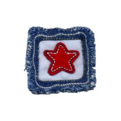 Iron-on patches red star in square - 5pcs