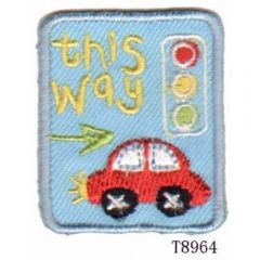 Iron-on patches This way traffic light - 5pcs