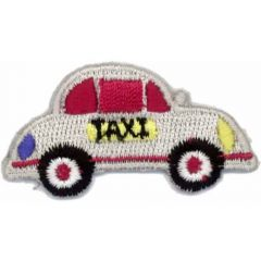 HKM Iron-on patch taxi 50x25mm white - 5pcs