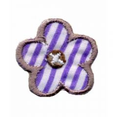 Iron-on patches flower lilac-white striped - 5pcs