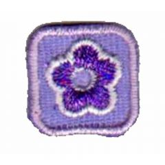 Iron-on patches flower lilac in small square - 5pcs