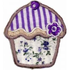 Iron-on patches Muffin with flowers - 5pcs