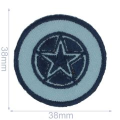 Iron-on patches star in blue circle - 5pcs