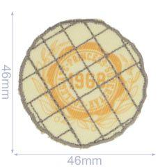 Iron-on patches 1968 wheat yellow round - 5pcs