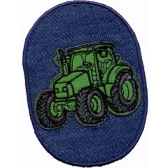 Iron-on patches Tractor green - 5pcs