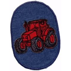 Iron-on patches tractor red - 5pcs