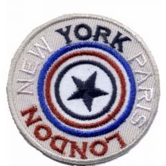 Iron-on patches LONDON NEW YORK PARIS - 5pcs