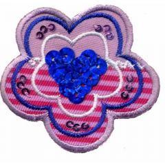 Iron-on patches flower with blue sequins - 5pcs