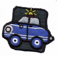 Iron-on patches Car Police blue - 5pcs